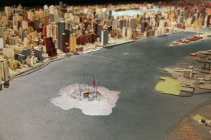 The other Saadiyat Island as imagined by Hana Shams Ahmed, One of fifteen islands fabricated by Greg Sholette based on ideas proposed by invited collaborators, Mixed media (paper, sand, plastic, wire, resin), 2012
